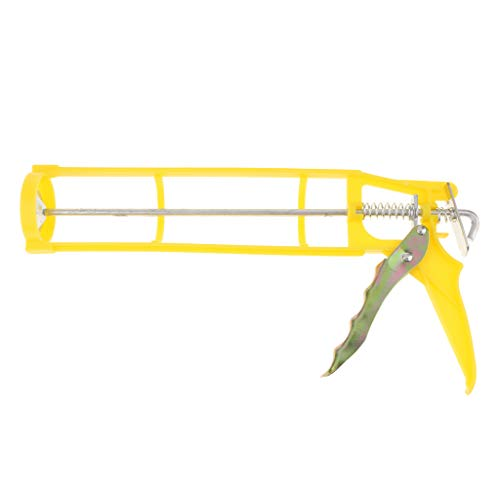 Flameer Silicone Gun Glass Caulking Squeeze Caulk Gun Workforce Multifunction Used to Squeeze Cylindrical Glue Yellow