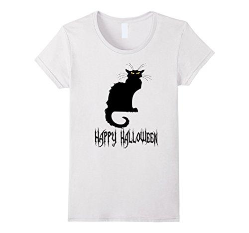 Scary Cat Costume Ideas (Womens Black Cat Halloween T-Shirt, Costume Idea, Party, Plus sizes Medium White)