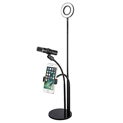 EEkiimy 3 in 1 Broadcast Mic Stand With Selfie Ring Light Cellphone Stand Microphone Holder for Live Stream 3 Light Color with Adjustment Gooseneck Weigted Base For iPhone X,8 Samsung S9Note 8 (Black) (Light Chat)
