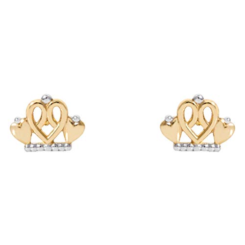 Disney Princess Jewelry for Girls, 14KT Gold Two Tone Royal Tiara Stud Earrings ()