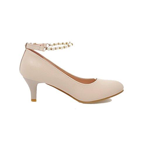 Toe Pumps Womens Kitten Round Beige Heels Solid Buckle Shoes AllhqFashion H4TZSy