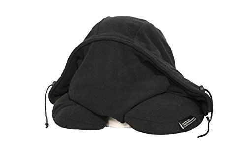 Lights Out - The First Block Out The World Travel Pillow - (Black) with Hoodie, Full Face Coverage and Contour Neck Support. Perfect Travel Pillow for Sleeping in Car, Airplane, Bus or Train.
