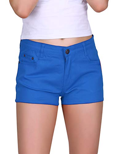 HDE Women's Solid Color Ultra Stretch Fitted Low Rise Moleton Denim Booty Shorts (Dark Blue, Small) - Girls Blue Denim Shorts
