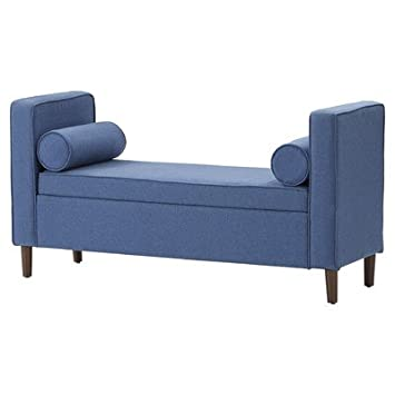 Rimo Polyester Upholstered 2 Seat Capacity Storage Bench With Bolster Throw  Pillows, Blue