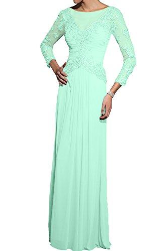 Brautmutterkleider Blau Chiffon Langarm Traumhaft Promkleider Neu Applikation Lang 2017 Abendkleider Mintgruen Ivydressing q6CwvR7W