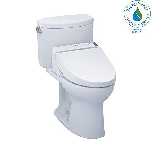 TOTO MW4542044CEFG#01 WASHLET+ Drake II Two-Piece Elongated 1.28 GPF Toilet and WASHLET C200 Bidet Seat, Cotton White
