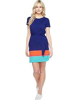 Lacoste Womens Short Sleeve Pique Color Block T-Shirt Dress