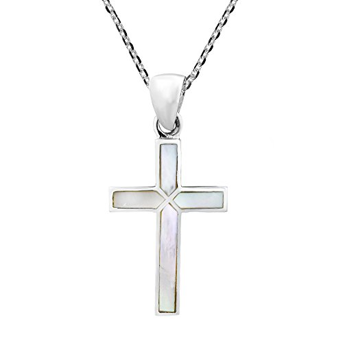 AeraVida Cross of Faith Inlaid White Mother of Pearl .925 Sterling Silver Pendant Necklace]()