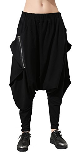 ELLAZHU Women Unique Design Pockets Black Harem Hippie Hip-hop Pants GY1054 by ELLAZHU