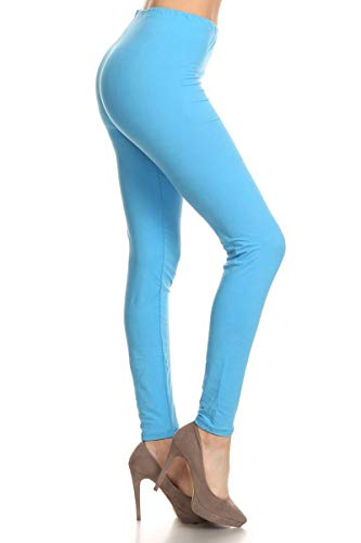 LDX128-Turquoise Basic Solid Leggings, Plus Size ()