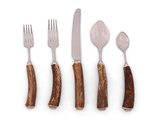 Vagabond House Real Natural Deer/Bone Antler Flatware/Place setting; 5 Piece Set - Handmade in USA ()