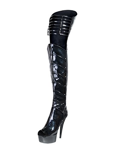 Summitfashions 6 Inch Sexy Boots Black Thigh High Boots Layered Panels Dominatrix Boots Size: ()