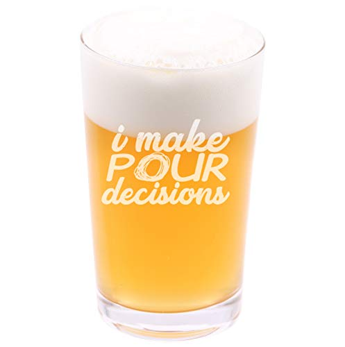 (I make pour decisions - Funny Novelty Beer Pint Glass with Coaster and Gift Box - 16 oz - Present for Husband Dad Boyfriend Friend Co-worker Men on Birthday Fathers Day Christmas)