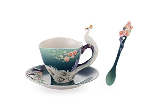 Franz Porcelain White Peacock Cup,Saucer,Spoon