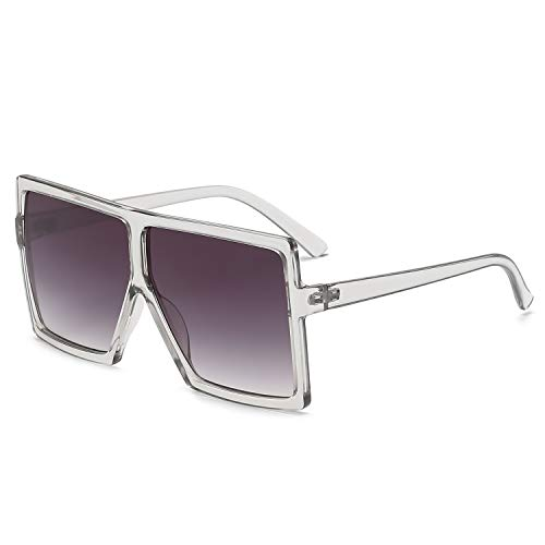 GRFISIA Square Oversized Sunglasses for Women Men Flat Top Fashion Shades (Clear Gray Frame- Gray Lens, 2.56)