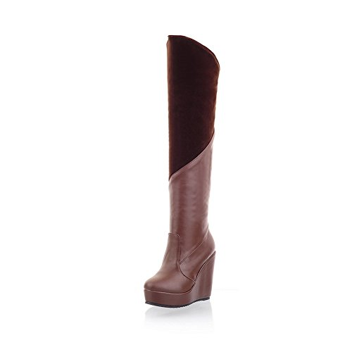 AdeeSu Girls Color Matching Thick Bottom Heel Pull-On Soft Material Boots Brown bkYCwuDzN1