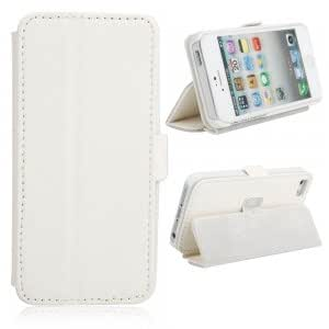 Side Open Leather Protective Case with Button for iPhone 5 White