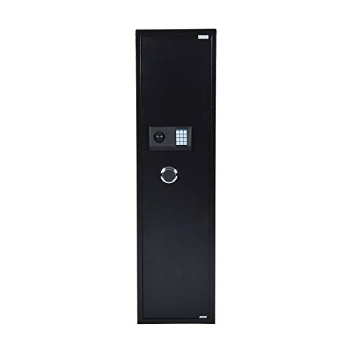 "HOMCOM 56"" Steel Electronic 5 Rifle Gun Safe Security Cabinet w/Digital Keypad, Keys,Padded Interior- Black"