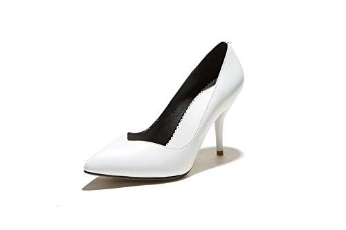 Amoonyfashion Donna Punta Chiusa Pull-on Misto Materiale Tacchi Alti Scarpe-scarpe Bianche