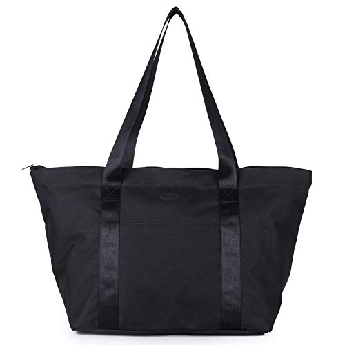 Nylon Family Travel Tote Beach Bag with Zipper for Women, Teacher or Nurse (Black) - Nylon Polyester Tote