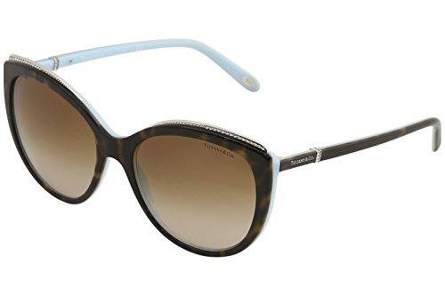 Tiffany 0TF4134B-81343B HAVANA/BLUE -56mm - Cat Tiffany Eye Sunglasses
