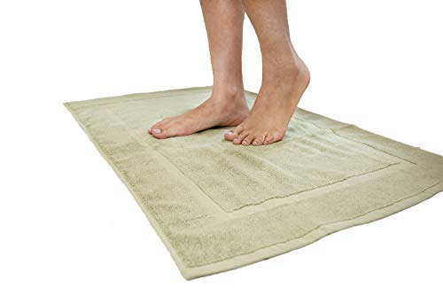 Cotton & Calm Exquisitely Plush Bath Mats Set, Sage Green (2 Pack, 20 x 34 inches) - Super Absorbent 100% Combed Cotton Bath Mat for Bathroom Floors