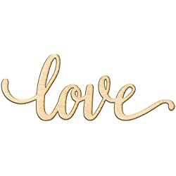 "Love Script Wood Sign Home Decor Wall Art Unfinished Charlie 18"" x 7"""