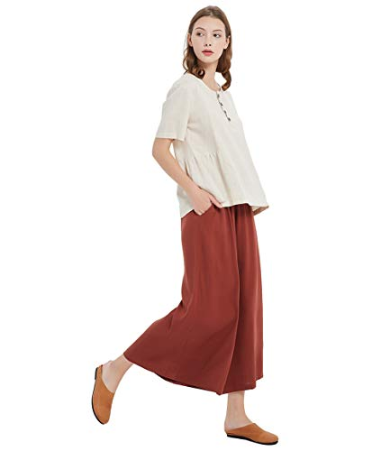 Sellse Women's Linen Cotton Casual Large Size Pants Plus Size Pant With Band Waist (XL, Brown-Red)