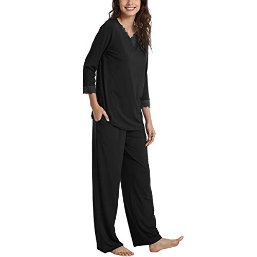 1aadf0f460 WiWi Bamboo Long Sleeve Moisture Wicking Sleepwear for Women Laced V Neck  Pajamas Pants Set S-XXXXL(4XL) at Amazon Women s Clothing store
