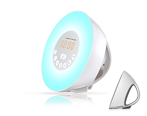 (URXTRAL Sunrise Simulation Wake Up Light Digital LED Alarm Clock with Snooze Function, 6 Nature Sounds, FM Radio, 10 Brightness Levels, Touch Control, Gently Wakes You up with Natural Light & Sounds)