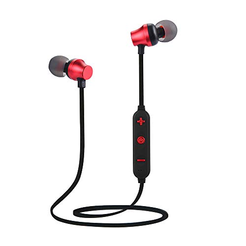 Bluetooth Headset, Sacow Wireless Bluetooth TF MP3 Flash Memory Card SD Card 4.2 Stereo Sports Headphone (Red)