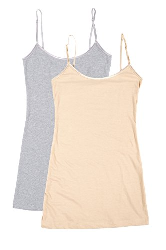 RT1002 PK Ladies Adjustable Spaghetti Strap Long Tank Top 2Pack - H.Grey/Taupe M -