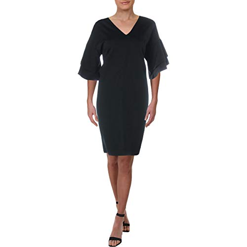(LAUREN RALPH LAUREN Womens Raeyana V-Neck Mini Cocktail Dress Black XL)