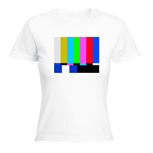 123t Slogans Women's TV COLOUR TEST ... COLOUR BLOCK DESIGN (XL - WHITE) FITTED T-SHIRT