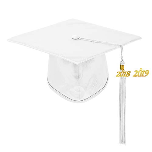 Annhiengrad Unisex Adult Shiny Graduation Cap with Tassel 2018&2019, White, Adjustable -