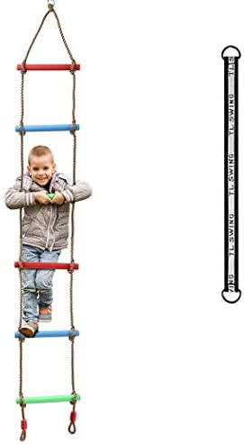Tamkyo 6Ft Climbing Rope Ladder Climbing Rope Swing Set Tree Ladder Toy for Children Climbing Exercise