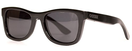 The Cassette Company Jackson Smoke Polarized Lens Wayfarer Sunglass, Black - Cassette Sunglasses