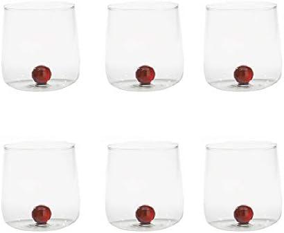 Zafferano Bilia - Vaso Tumbler de Vidrio Transparente Hecho a Mano, Decorado con una Bola de Vidrio de Color en el Interior, cl 44 h 90mm d 88mm, Juego de 6 Piezas - Ámbar