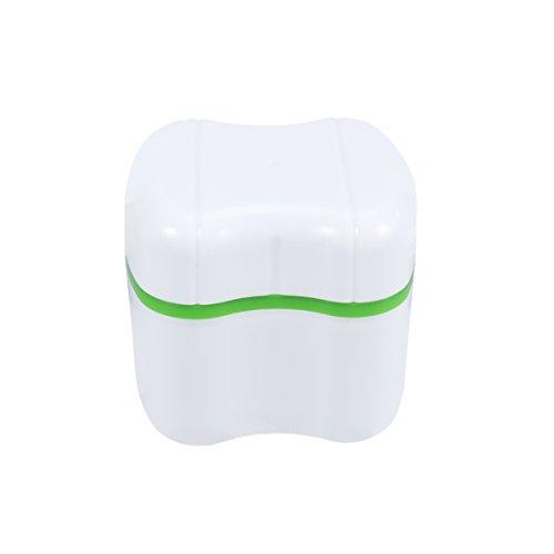 ROSENICE Denture Case Dental False Teeth Storage Box with Rinsing Basket (Green)