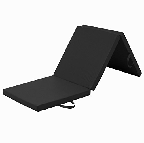 Black 6' PU Leather EPE Foam Gymnastic Mat With Carrying Handle 3 Panel Design Yoga Tumbling Aerobics Stretching Pilates Core Strengthening Thick Exercise Fitness Floor Mat Perfect For Home or - Tri Where Buy To Shorts