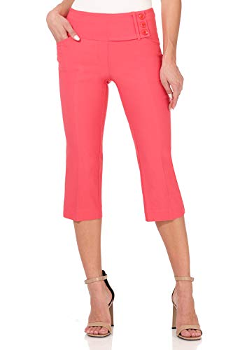 Rekucci Women's Ease into Comfort Wide Waist Capri with Back Lacing Detail (14,Coral)