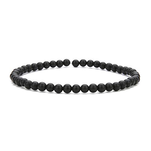 BALIBALI 4MM Mini Gemstone Energy Bracelets Tiny Black Agate Bracelet Natural Stone Statement Bracelet Charm Beaded Couples Bracelets