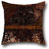 (18 X 18 Inches / 45 By 45 Cm Oil Painting Madrid School - Auto-da-fe Throw Pillow Covers,both Sides Is Fit For Divan,monther,bedroom,kids Room,bar Seat,floor)