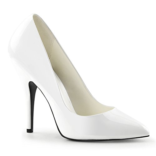 420 Pleaser Pump pat white Seduce Women's Pwq7TCR