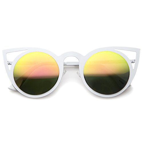 ZeroUV - Womens Fashion Round Metal Cut-Out Flash Mirror Lens Cat Eye Sunglasses (White / Pink Green Mirror)