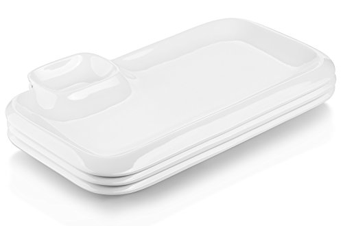 White Porcelain Sauce - DOWAN 12 Inches Porcelain Platters, White Rectangular Serving Plates with Chip and Dip Sets, Set of 3