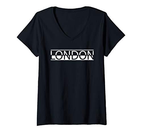 Womens London Skyline Silhouette Souvenir Gift Tee V-Neck T-Shirt