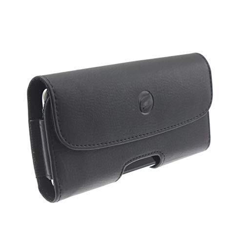 Authentic Loop Holster - Black PU Leather Case Side Cover Protective Pouch Holster Belt Clip w Loops for AT&T Alcatel Tetra - AT&T iPhone X