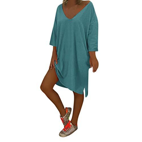 TnaIolral Ladies Boho Dresses V Neck Feminino Vesti Caftan Beach Cover Baggy Skirt Blue