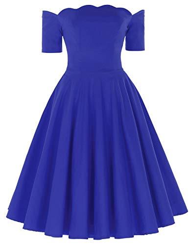 - 50s Audrey Hepburn Dress Vintage Cocktail Dress Royal Blue Size S